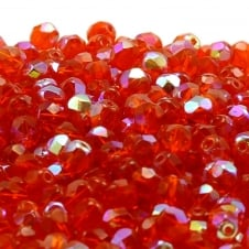 6mm Czech Faceted Round Glass Bead - Hyacinth AB - 50pk