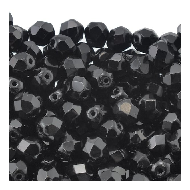 6mm Czech Faceted Round Glass Bead - Jet - 50pk
