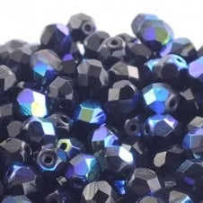 6mm Czech Faceted Round Glass Bead - Jet AB - 50pk