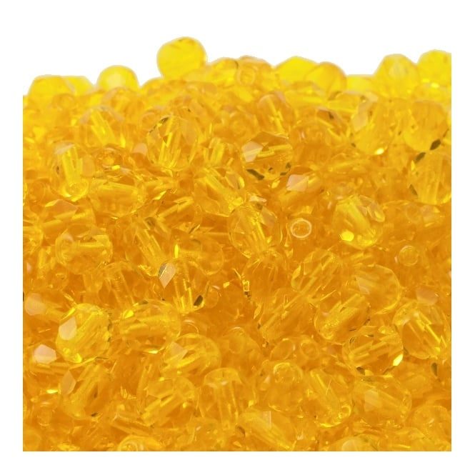 6mm Czech Faceted Round Glass Bead - Lemon - 50pk
