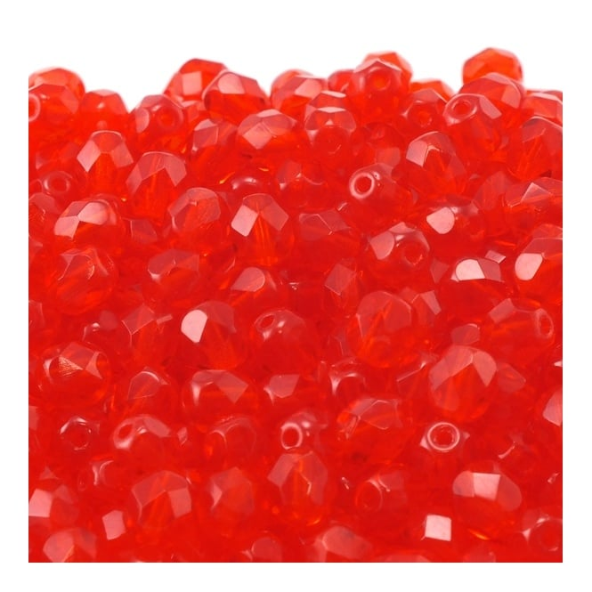 6mm Czech Faceted Round Glass Bead - Light Siam - 50pk