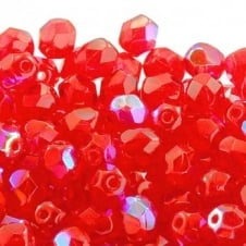 6mm Czech Faceted Round Glass Bead - Light Siam AB - 50pk