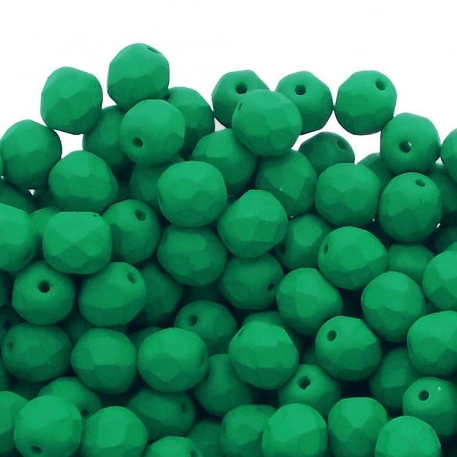 6mm Czech Faceted Round Glass Bead - Neon Dark Emerald - 50pk