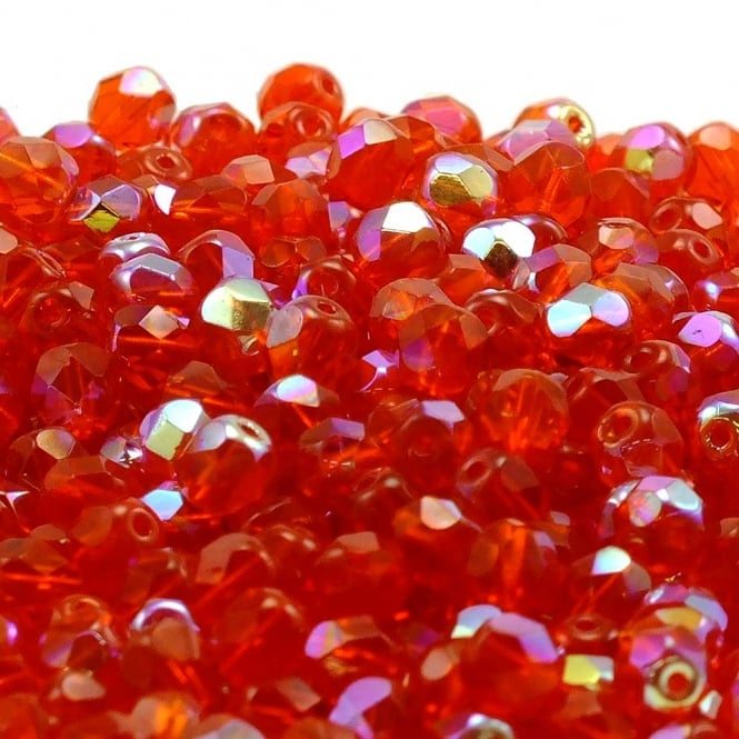6mm Czech Faceted Round Glass Bead - Siam AB - 50pk