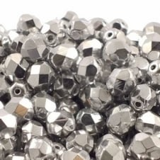 6mm Czech Faceted Round Glass Bead - Silver - 50pk