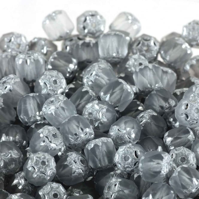 6mm Czech Glass Faceted Barrel Beads - Light Grey - 50pk