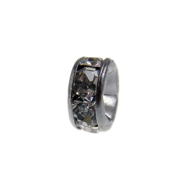 6mm Diamante Rondelles - Black Plated - Crystal - 100pk