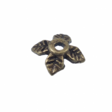 6mm Leaf Bead Caps - Antique Brass Plated - 50pk