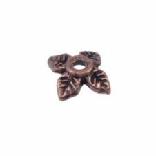 6mm Leaf Bead Caps - Antique Copper Plated - 50pk