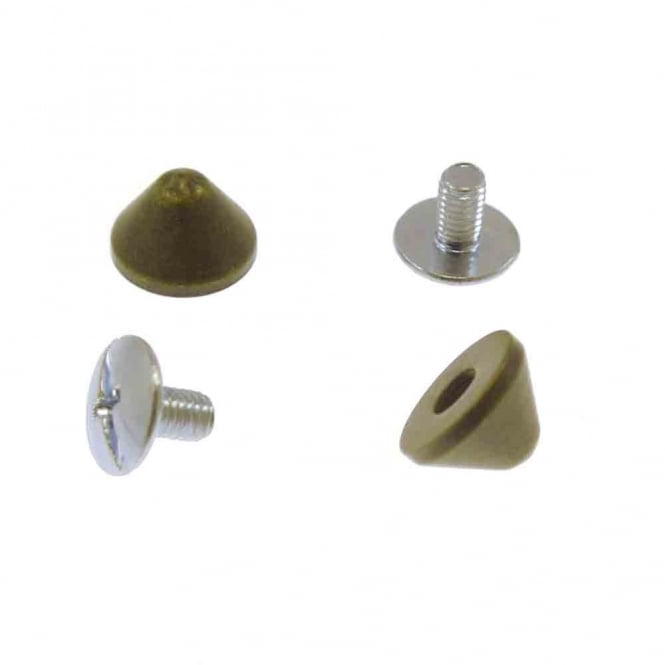6mm Metal Cone Screw Studs - Bronze - 10pk