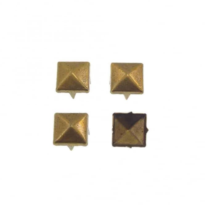 6mm Metal Square Pyramids Studs - Antique Gold - 20pk