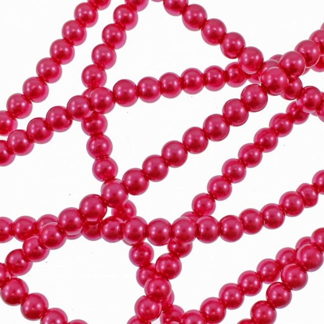 6mm Round Glass Pearl Beads - Bright Rose - 2 Strings (72 Beads)