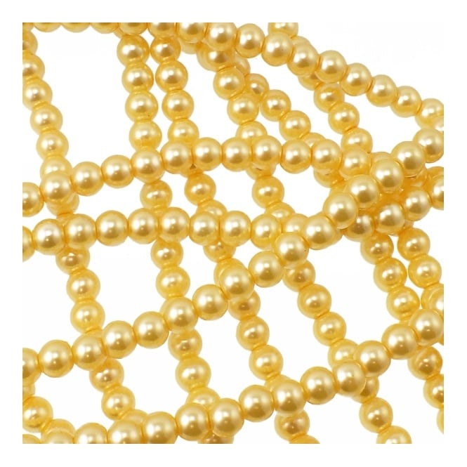6mm Round Glass Pearl Beads - Bright Yellow - 2 Strings (72 Beads)