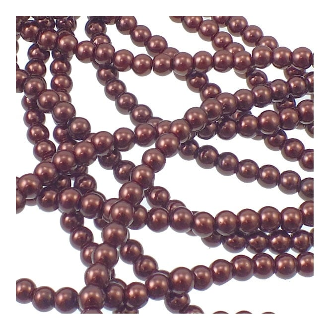 6mm Round Glass Pearl Beads - Dark Brown - 2 Strings (72 Beads)