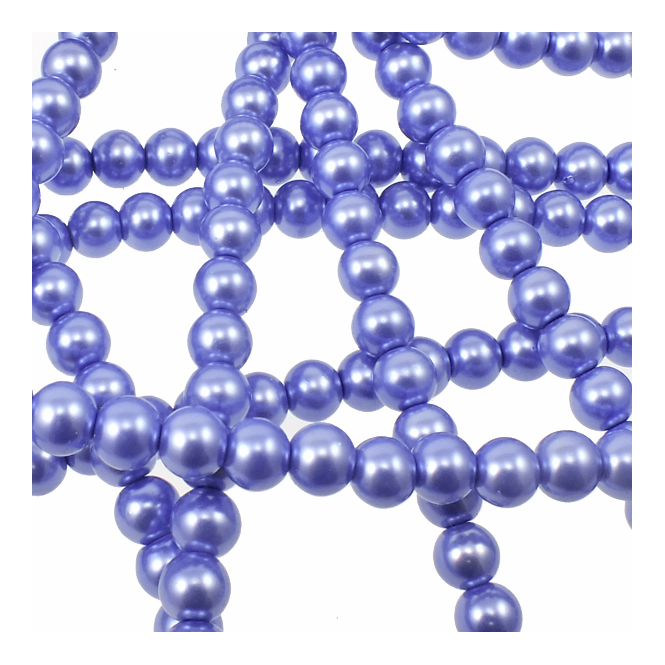 6mm Round Glass Pearl Beads - Heather - 2 Strings (72 Beads)