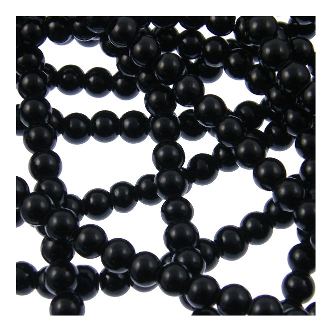 6mm Round Glass Pearl Beads - Jet - 1 String (80 Beads)