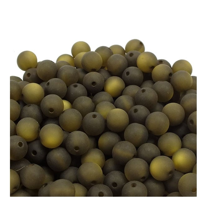 6mm Round Polaris Style Beads - Matte Dark Olive - 25pk