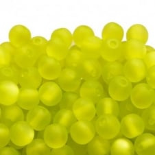 6mm Round Polaris Style Beads - Matte Lime - 25pk