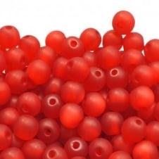 6mm Round Polaris Style Beads - Matte Red - 25pk