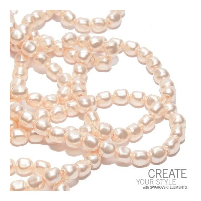 6mm Baroque Pearl Beads - Crystal Creamrose