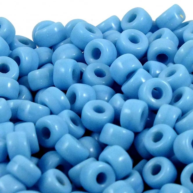 6x4mm Czech Glass Pony Beads - Opaque Blue Turquoise - 50pk