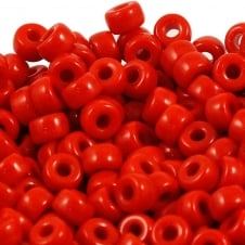 6x4mm Czech Glass Pony Beads - Opaque Red - 50pk