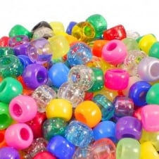 6x8mm Barrel Plastic Pony Bead Mix - Assorted - 100pk