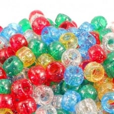 6x8mm Barrel Plastic Pony Bead Mix - Glitter - 100pk