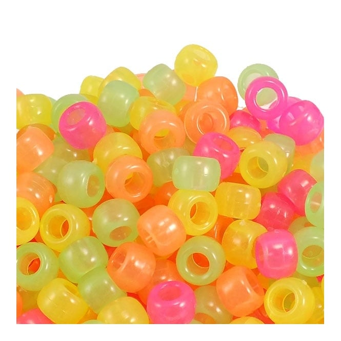 6x8mm Barrel Plastic Pony Bead Mix - Glow-in-the-Dark - 100pk