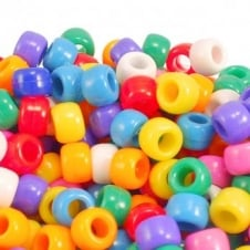 6x8mm Barrel Plastic Pony Bead Mix - Opaque - 100pk