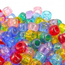 6x8mm Barrel Plastic Pony Bead Mix - Transparent - 100pk