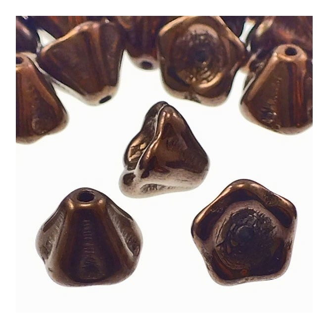 6x8mm Czech Glass Bell Flowers - Dark Bronze - 25pk