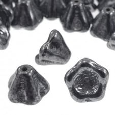 6x8mm Czech Glass Bell Flowers - Hematite - 25pk