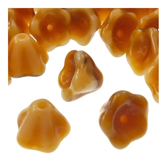 6x8mm Czech Glass Bell Flowers - Light Tiger Eye - 25pk