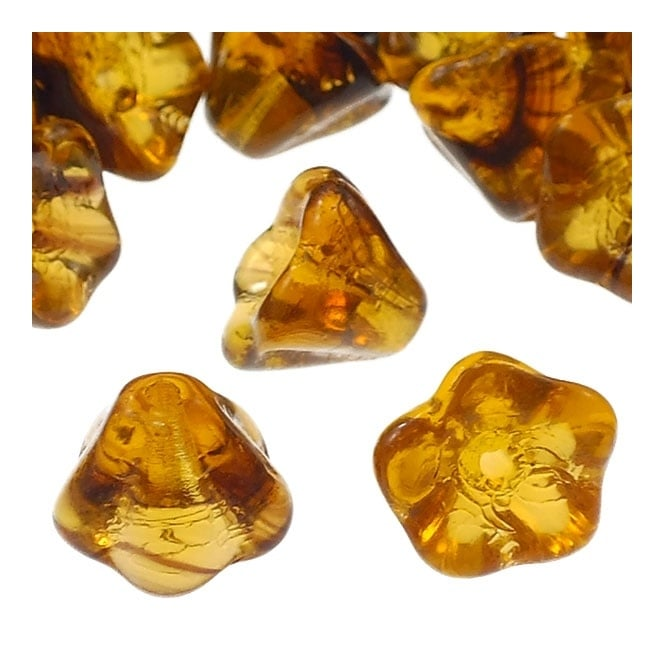 6x8mm Czech Glass Bell Flowers - Tortoise - 25pk