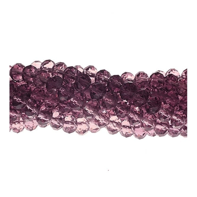 6x8mm Faceted Glass Rondelles - Amethyst - 50pk