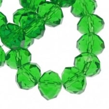 6x8mm Faceted Glass Rondelles - Green - 50pk