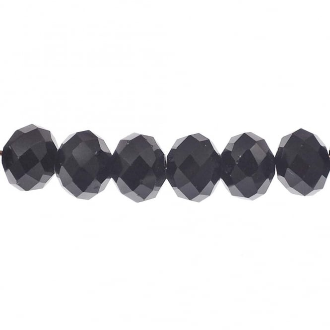 6x8mm Faceted Glass Rondelles - Jet - 50pk