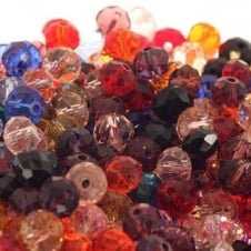 6x8mm Faceted Glass Rondelles - Mix Colours - 50pk