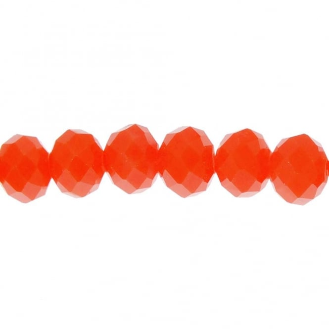 6x8mm Faceted Glass Rondelles - Opaque Coral - 20 Beads