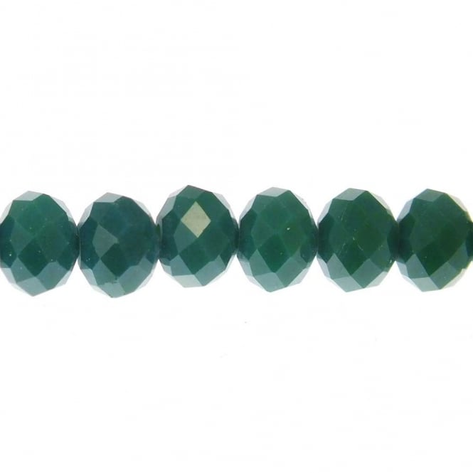 6x8mm Faceted Glass Rondelles - Opaque Dark Green - 20 Beads