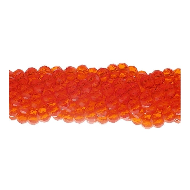 6x8mm Faceted Glass Rondelles - Orange - 50pk