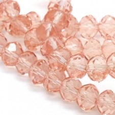 6x8mm Faceted Glass Rondelles - Pink - 50pk