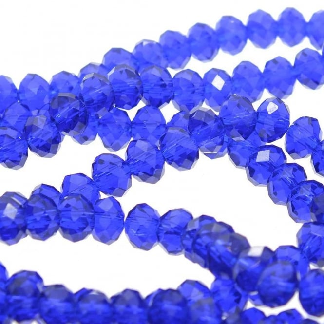 6x8mm Faceted Glass Rondelles - Royal Blue - 50pk