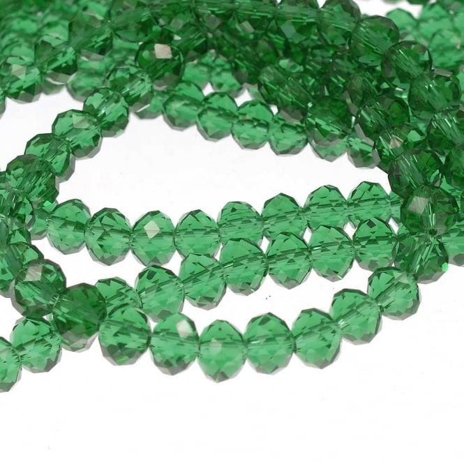6x8mm Faceted Glass Rondelles - Sea Green - 50pk