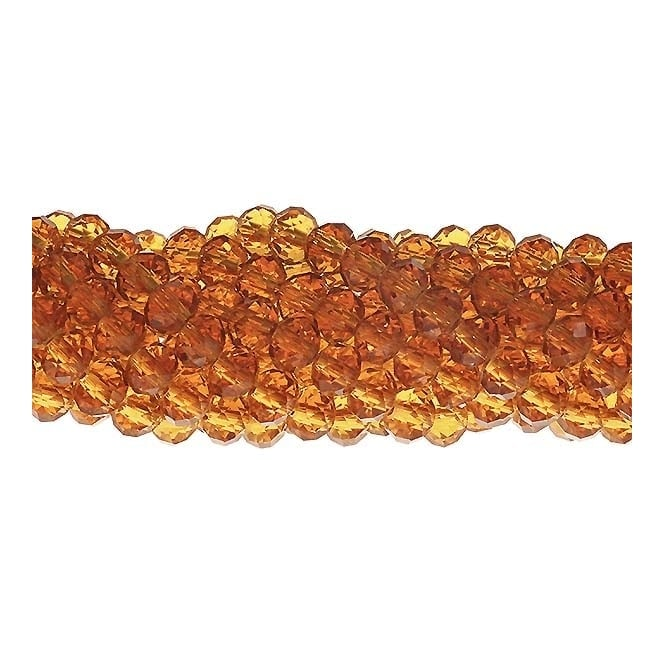 6x8mm Faceted Glass Rondelles - Topaz - 50pk
