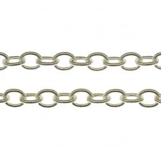 7.5x6mm Textured Oval Cable Chain - Silver Plated - 1 metre