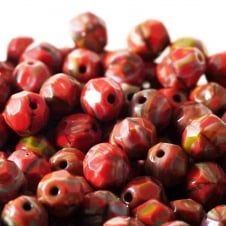 7mm Czech Glass Faceted Round Beads - Red - 50pk