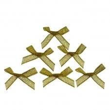 7mm Mini Lurex Ribbon Bows - Gold - 10pk