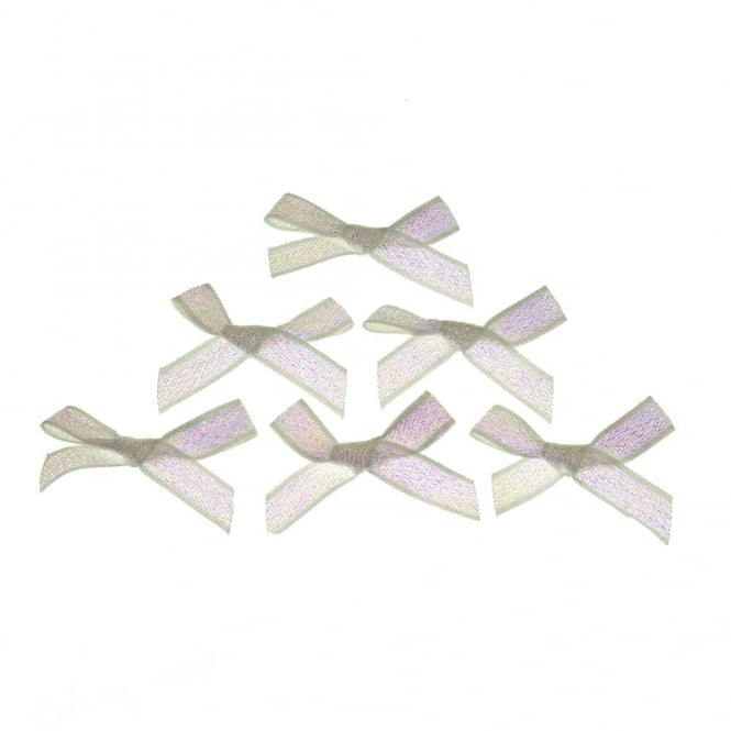 7mm Mini Lurex Ribbon Bows - Opal Iridescent - 10pk